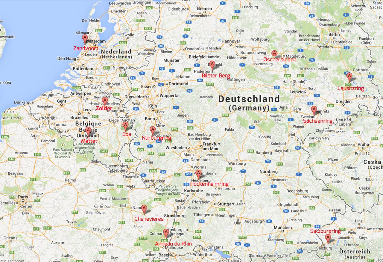 rennstrecken deutschland karte RaceTrack4You | Rennstrecken erleben | Veranstaltungen